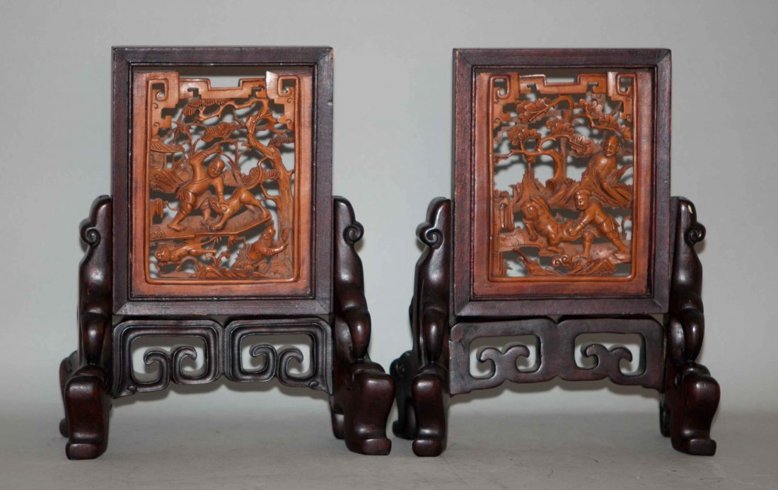 13: Chinese Pair of Boxwood Carved Table Screens
