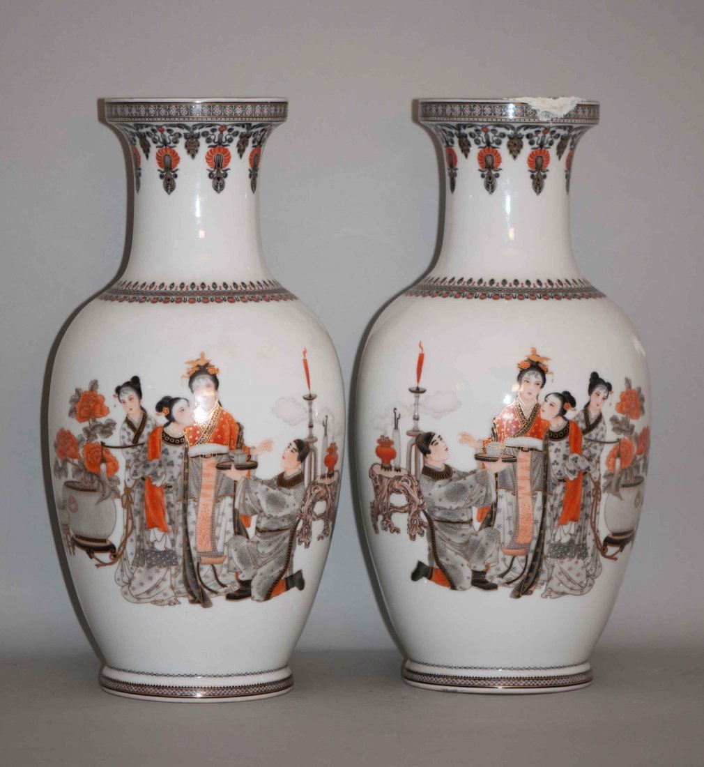 """15: Chinese Famille Noire Vases """"Qian-long"""" mark"""