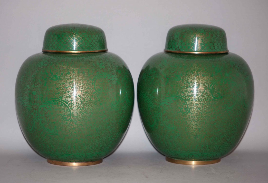 17: Chinese Pair of Cloisonne Jars