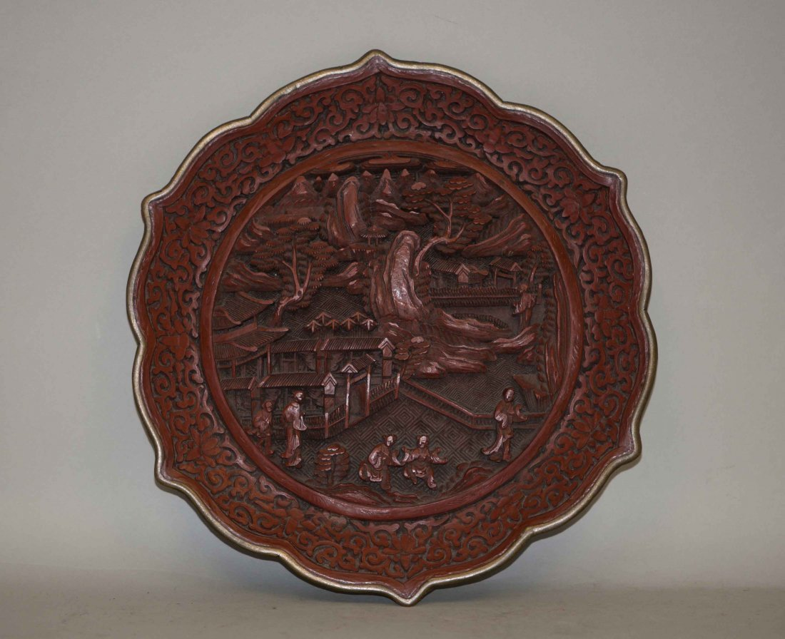 18: Chinese Flower-petal Shaped Cinnabar Charger