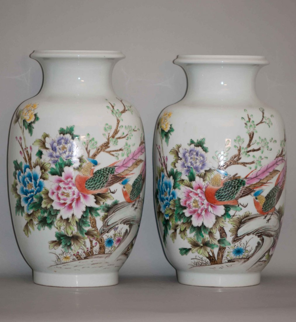 19: Chinese Large Famille Rose Vases in Peonies
