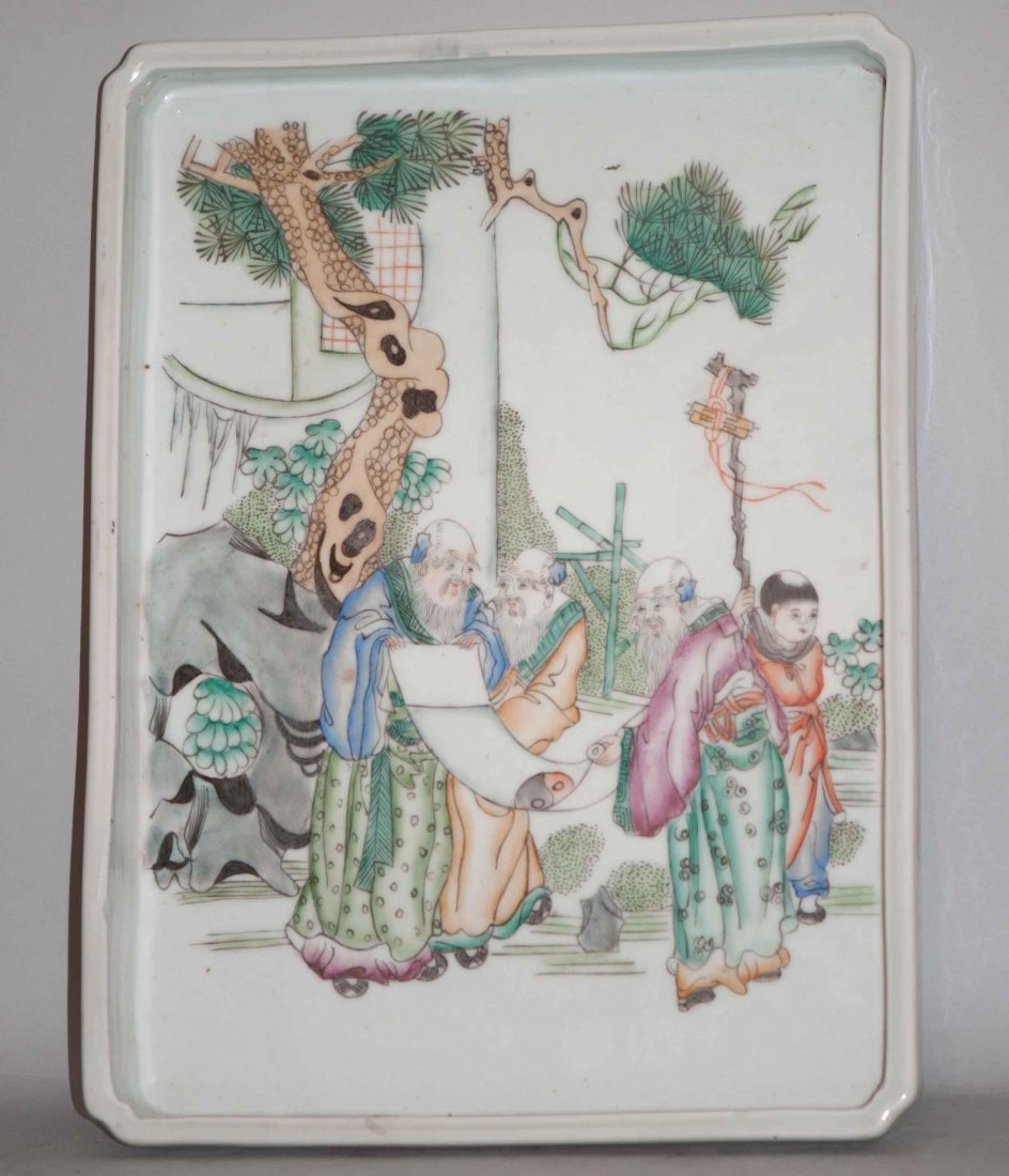 20: Chinese Famille Rose Tray in Three Wisemen