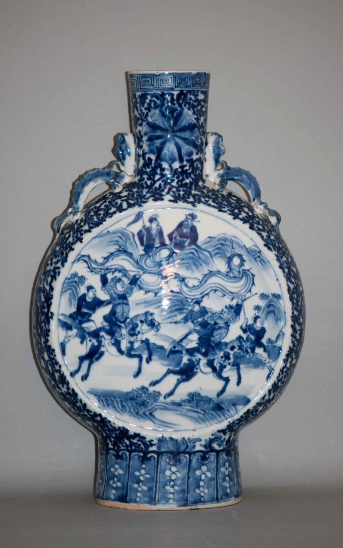 23: Chinese Large Blue-white Moon Flask Mounted in Lamp