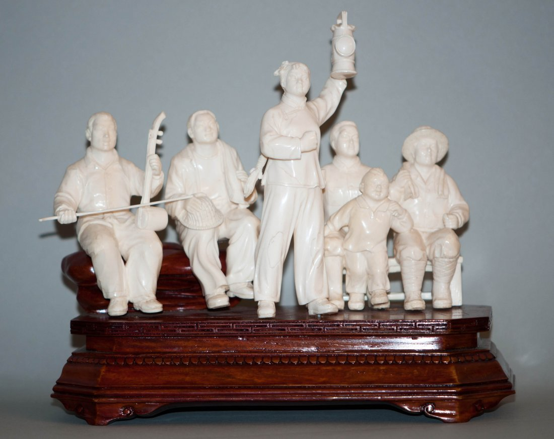 24: Chinese Rare Ivory Group of Six Revolutionary Figur