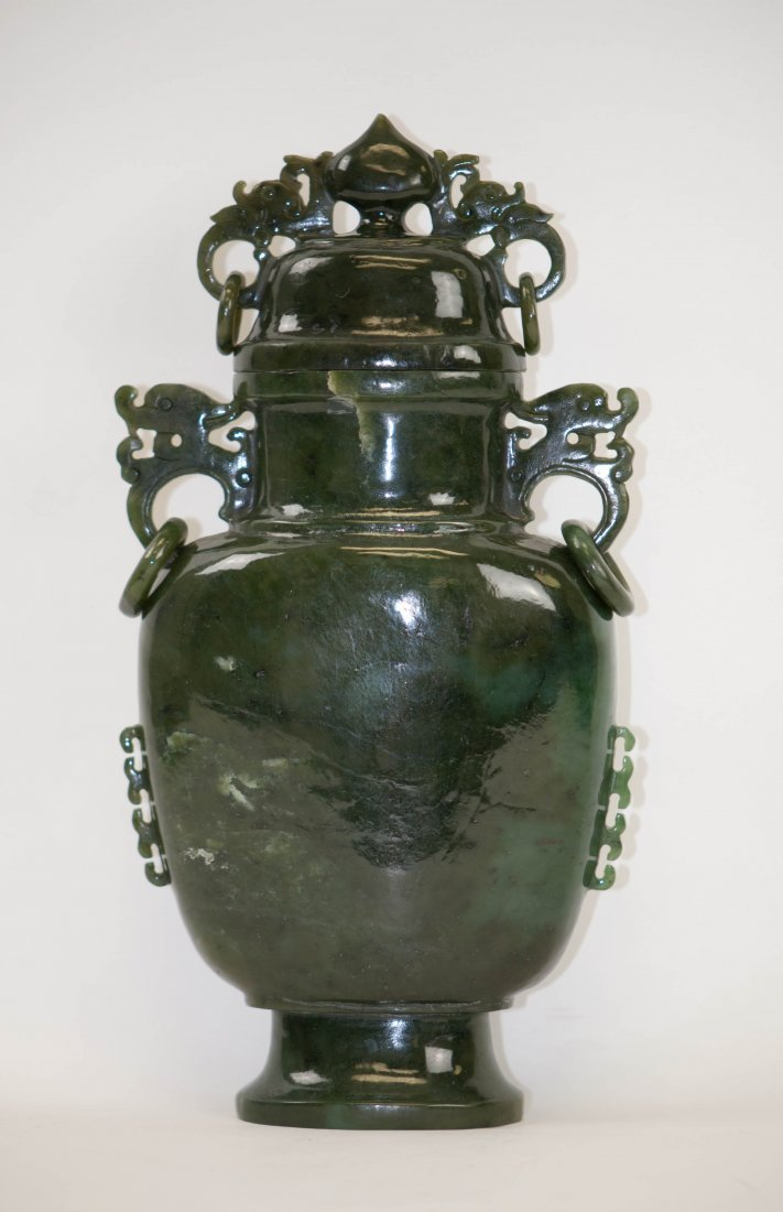 16: Chinese Spinach Jade Lidded Jar