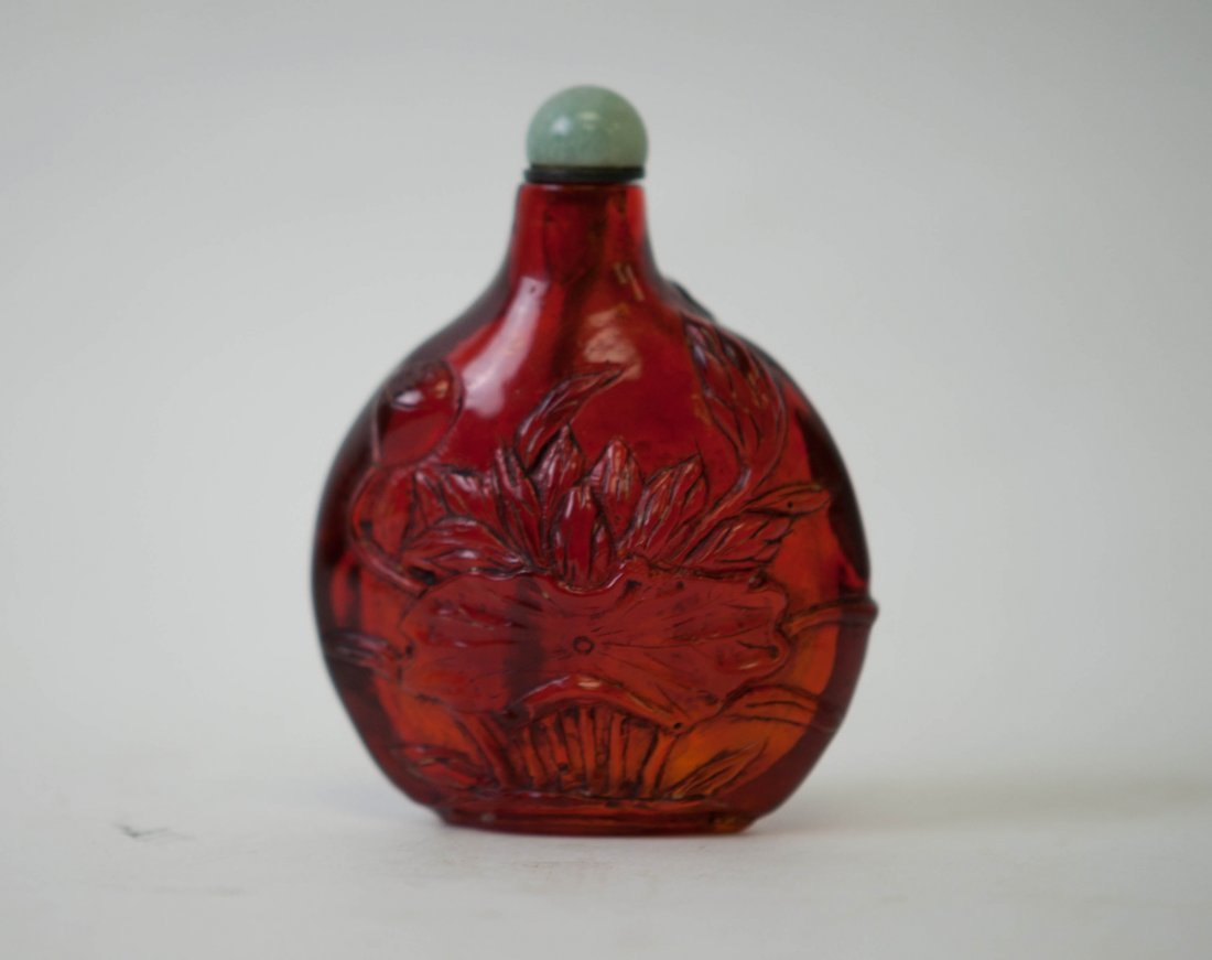 23: Chinese Red Amber Snuff Bottle