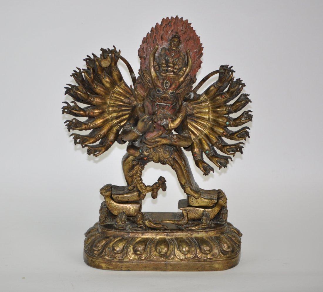 56: Chinese Gilt Bronze Multi-hand Sino-Tibetan Buddha