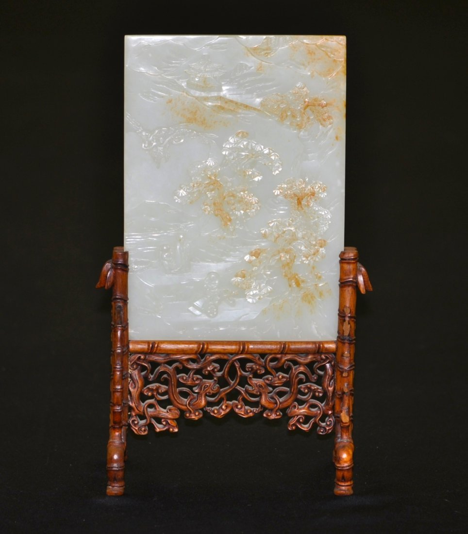88: Chinese Rare White Russet Jade Table Screen