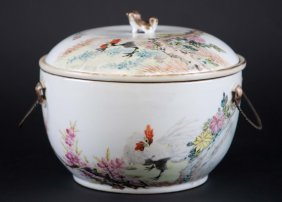 3: Chinese Famille Rose Covered Jar in Rooster