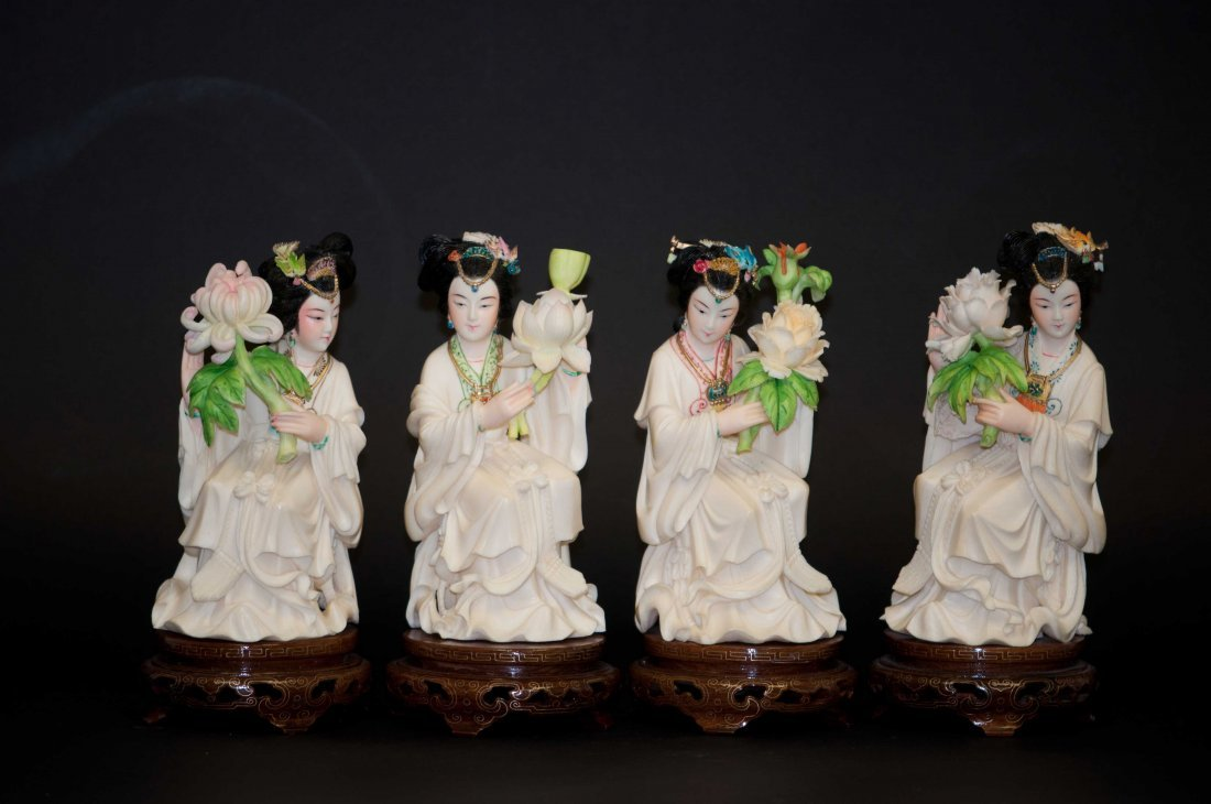 4: Chinese Set of 4 Polychrome Ivory Beauties