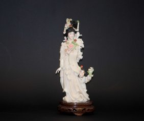 Chinese Polychrome Ivory Fairy-Child Group