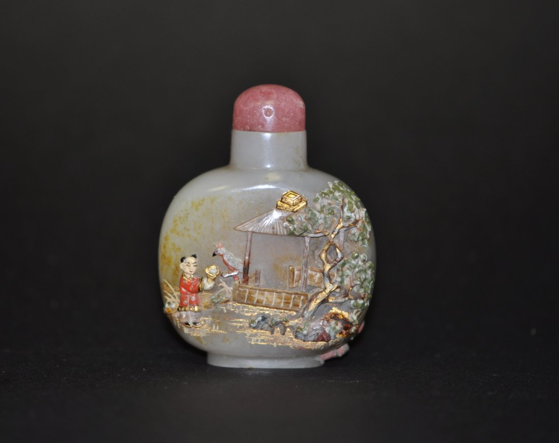 15: Chinese White Russet Jade Snuff Bottle