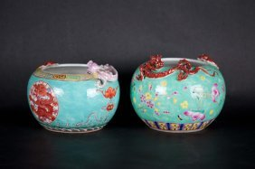 Chinese Pair Turquoise Dragon Washers