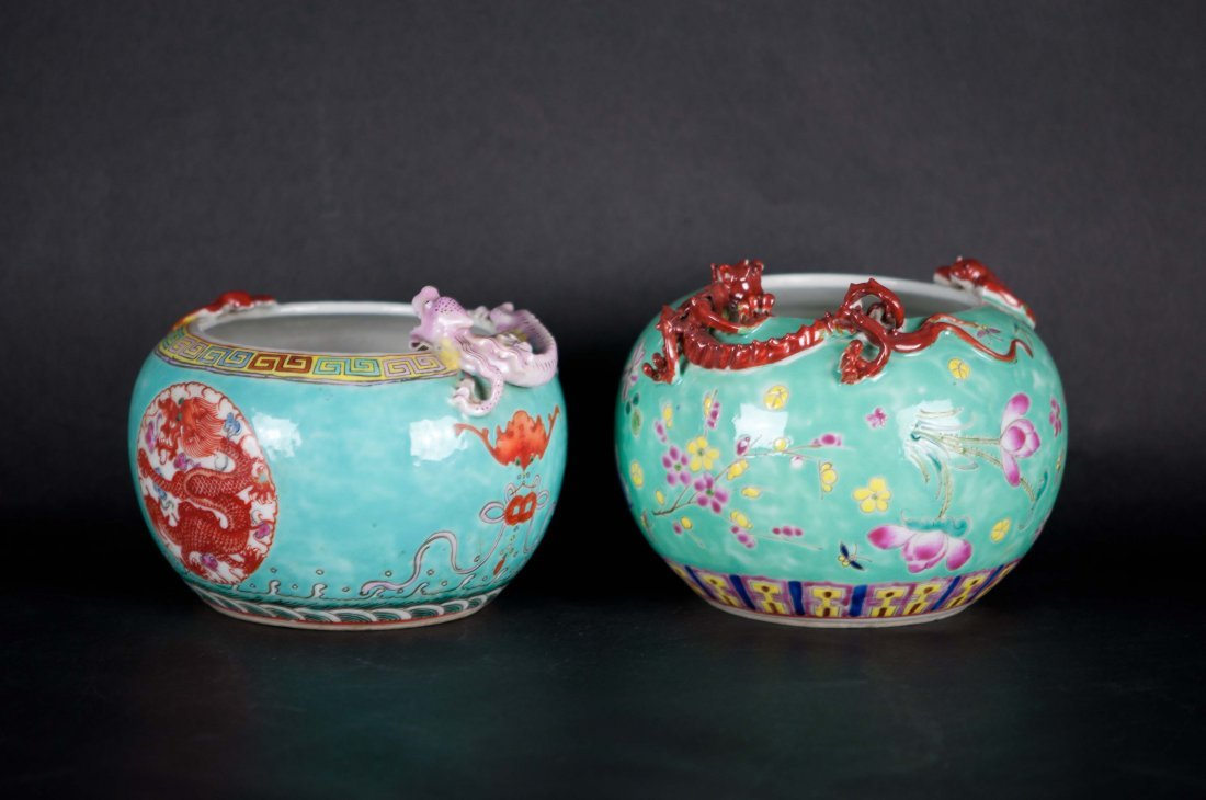 17: Chinese Pair Turquoise Dragon Washers