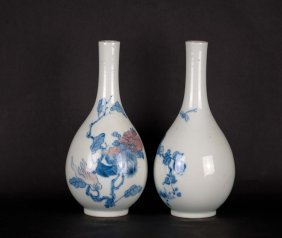 21: Chinese Copper-red Blue-white Garlic Vases