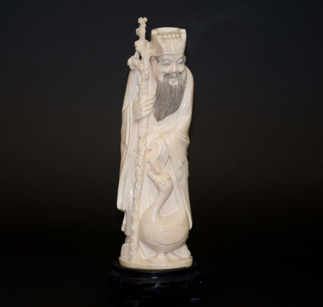 22: Chinese Ivory Wang Xi Chi and Goose
