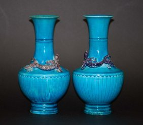 23: Chinese Pair Turquoise Blue Vase with Li Long