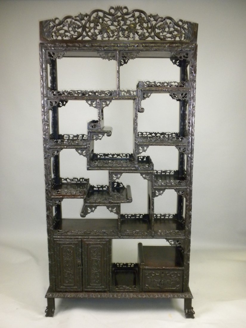 156: Chinese Large Rosewood Display Cabinet