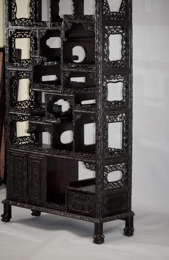 156: Chinese Large Rosewood Display Cabinet - 4