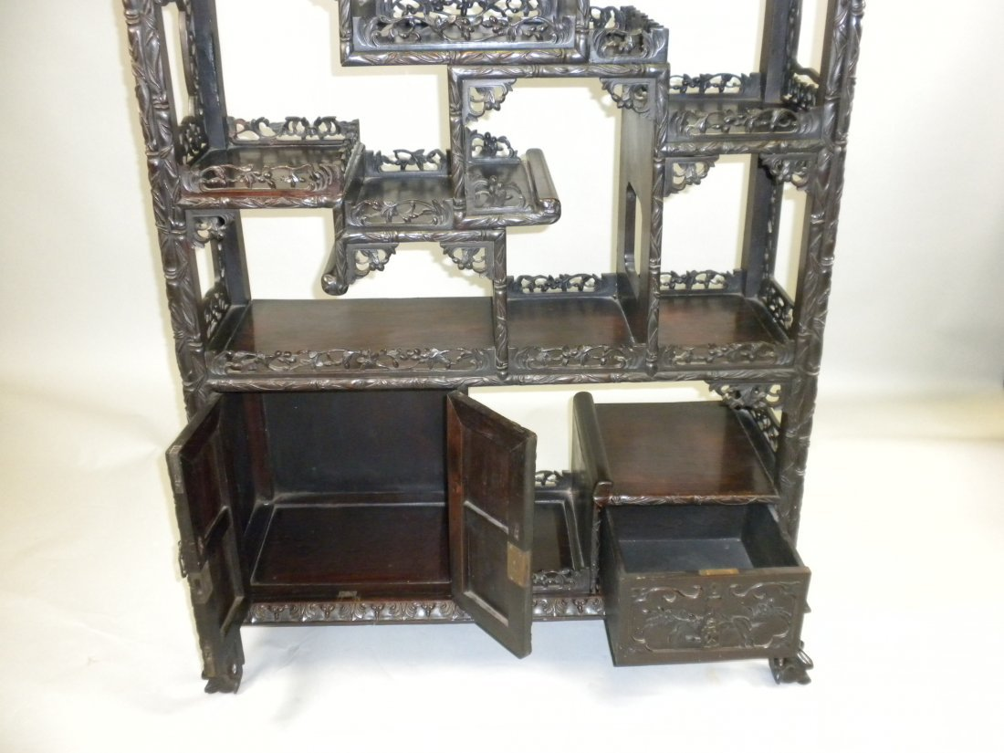 156: Chinese Large Rosewood Display Cabinet - 8