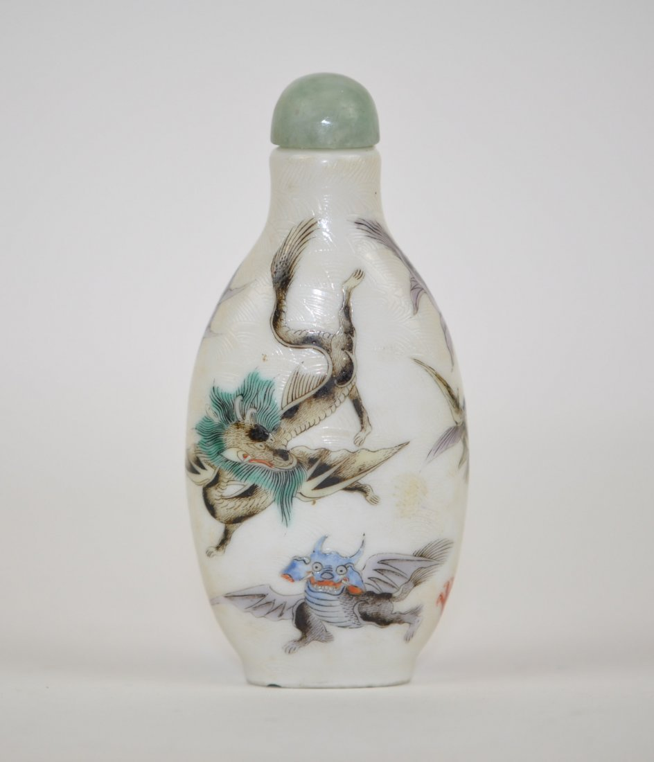 Chinese Famille Rose Snuff Bottle in Dragons