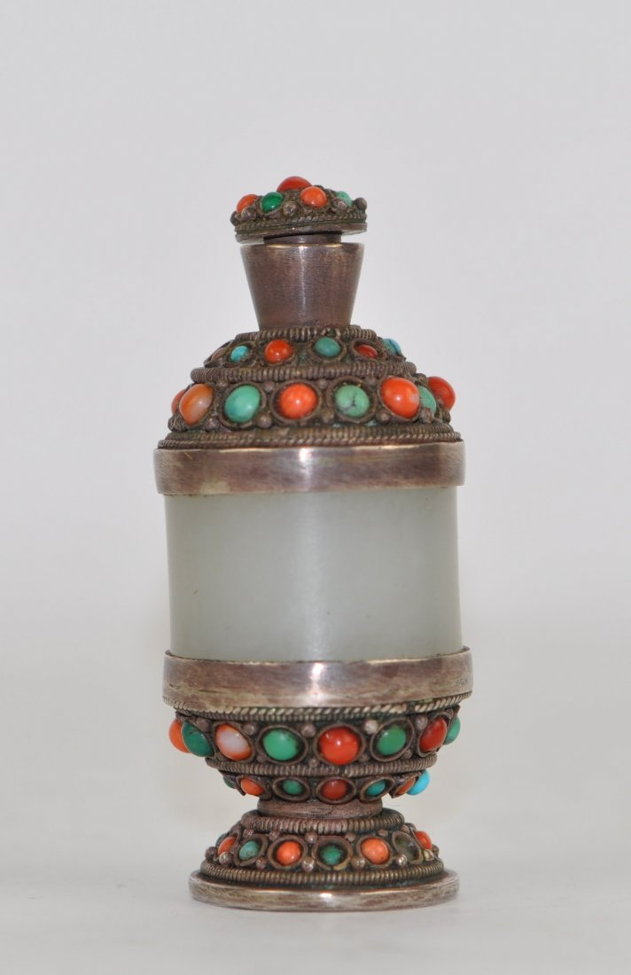 Chinese White Jade Snuff Bottle Wrapped in Silver and J