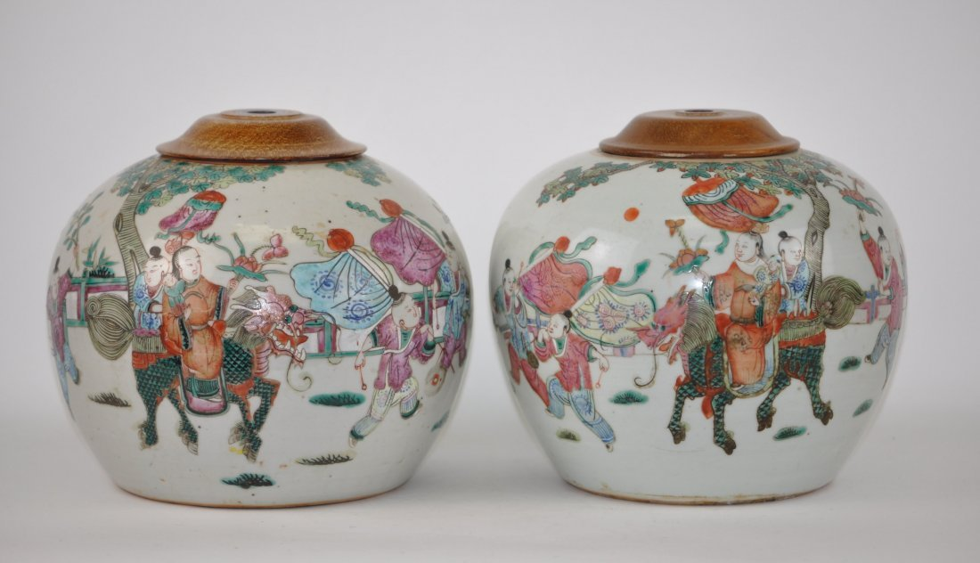 Chinese Pair of Famille Rose Covered Jars