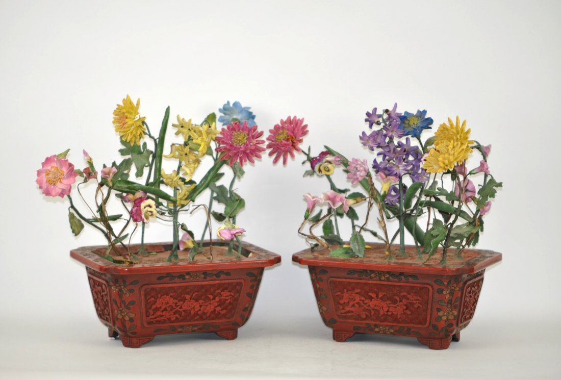 Chinese Pair Cinnabar Planters with Porcelain Flowers