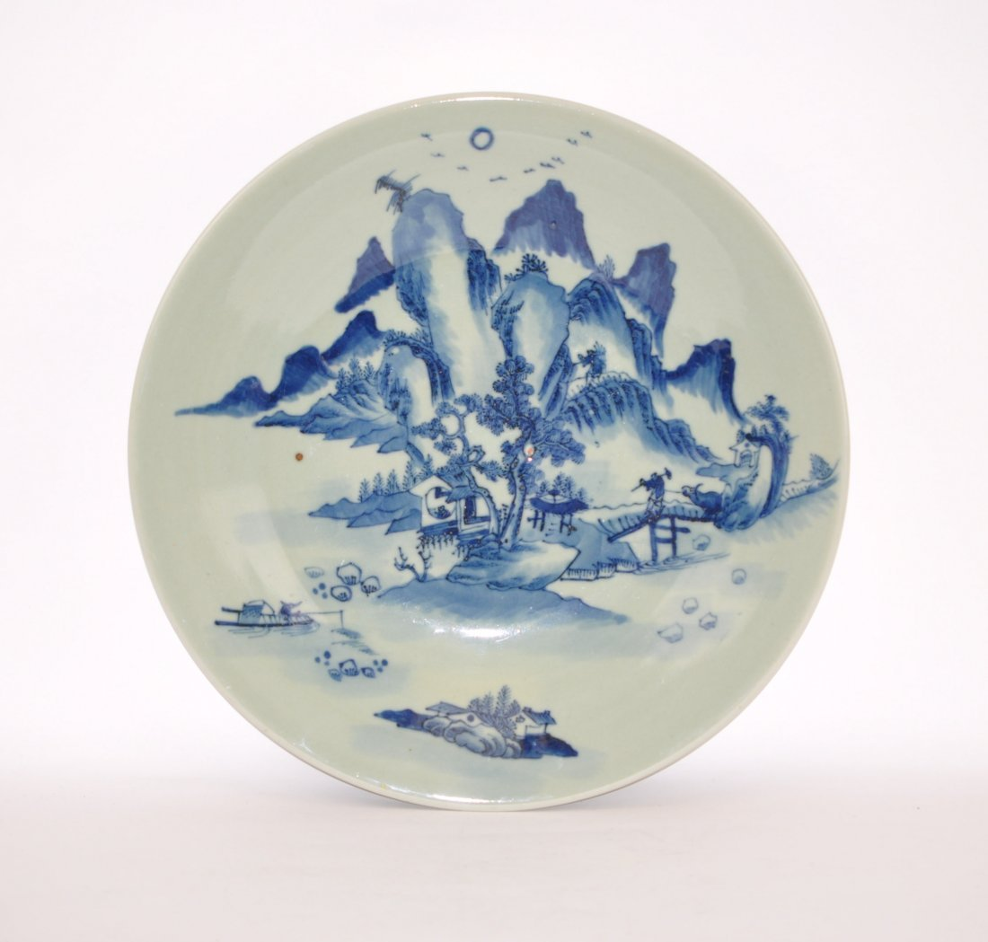 Chinese Extra-large Celadon Blue-white Charger