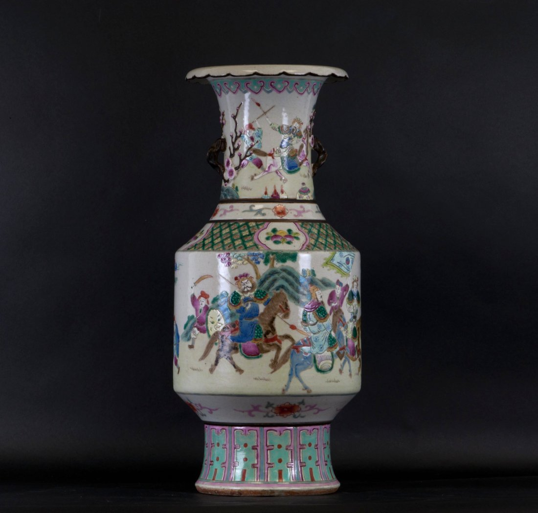 Chinese Large Famille Rose Vase in Relief