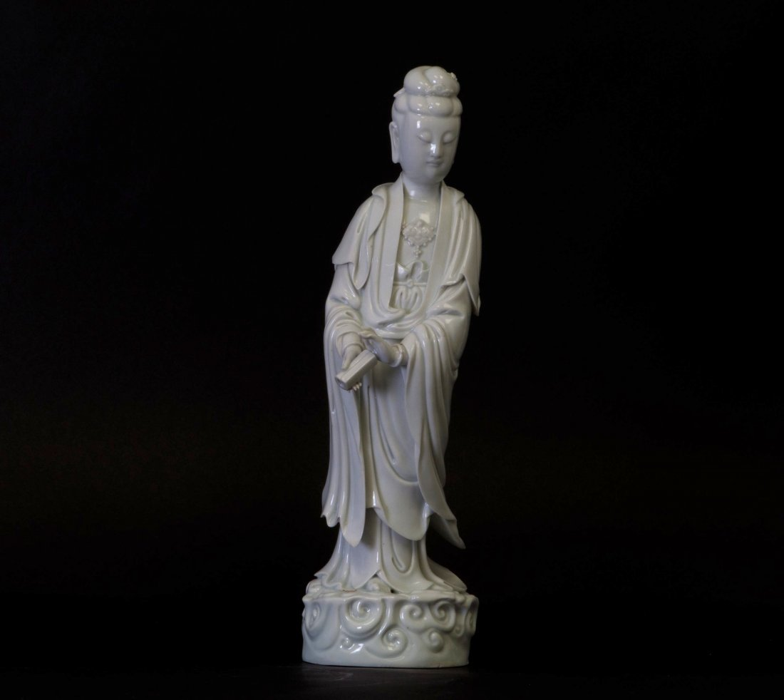 Chinese Large Blanc-de-Chinese Standing Kwan-yin Marked