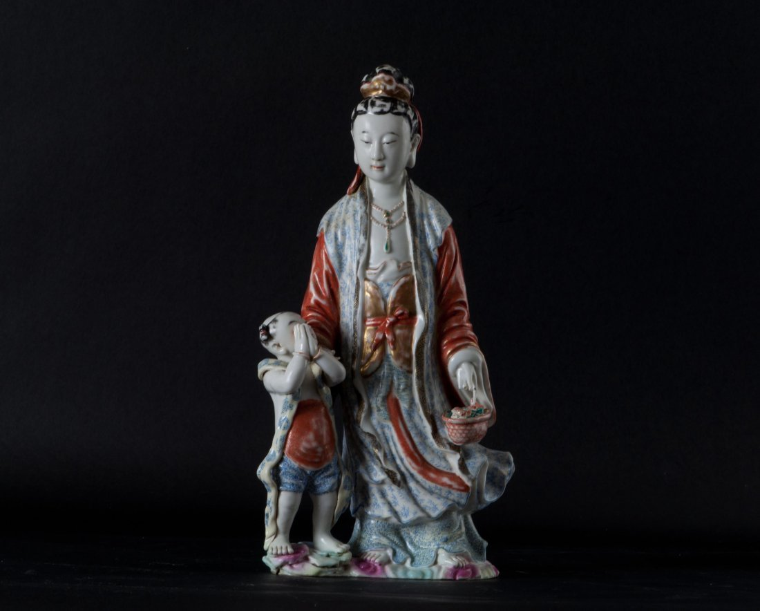 Chinese Famille Rose Kwan-yin with Immortal Boy