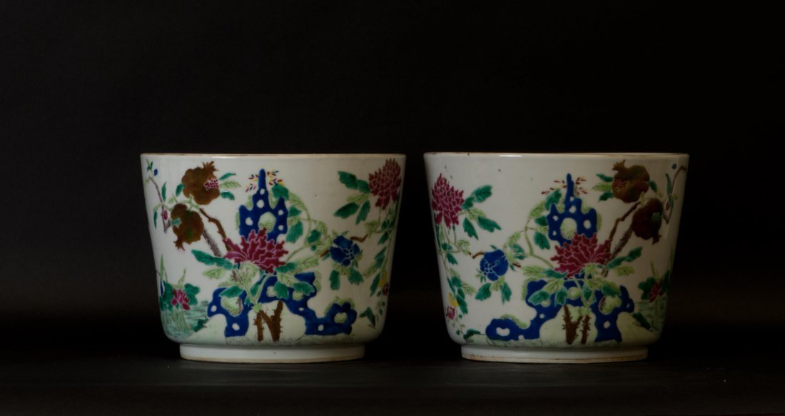 Chinese Pair of Famille Rose Planters in Pomegranate
