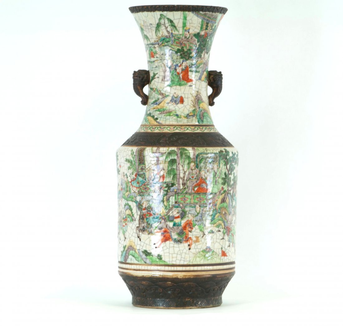 Chinese Large Famille Rose Cracked Vase in Warriors