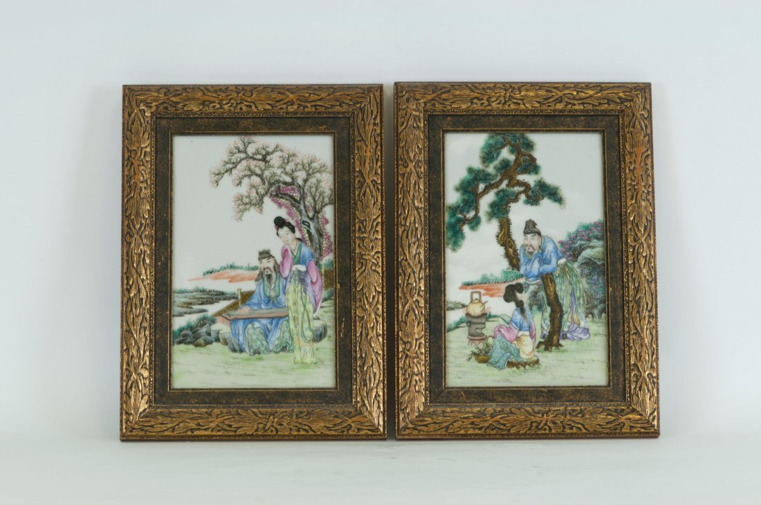 Chinese Pair of Framed Famille Rose Porcelain Plaques