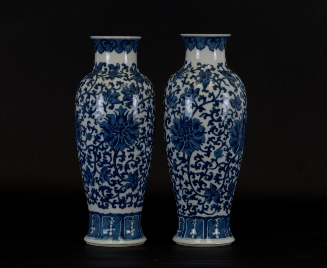 Chinese Pair of Blue-white Vases