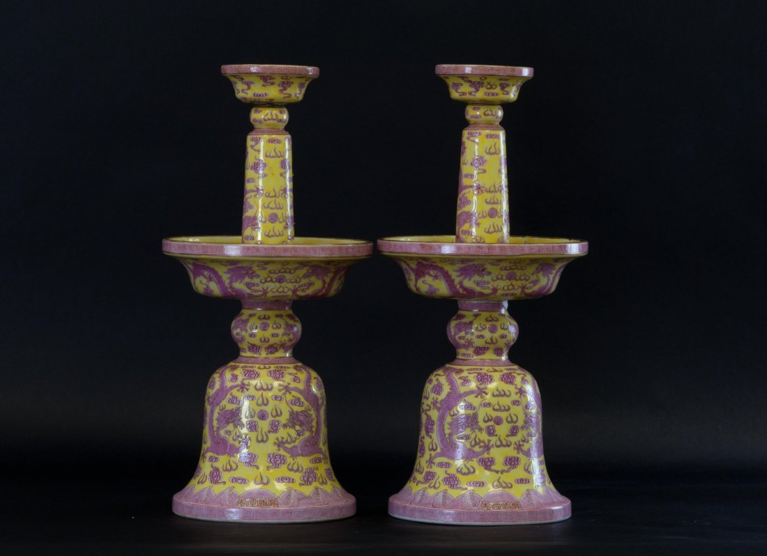 Chinese Imperial Pair of Enameled Candle Holders