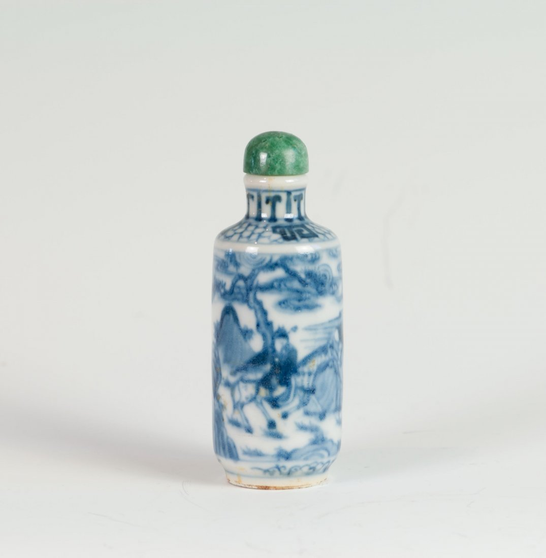 Chinese Blue-white Snuff Bottle in Mardarin Riding a Ho