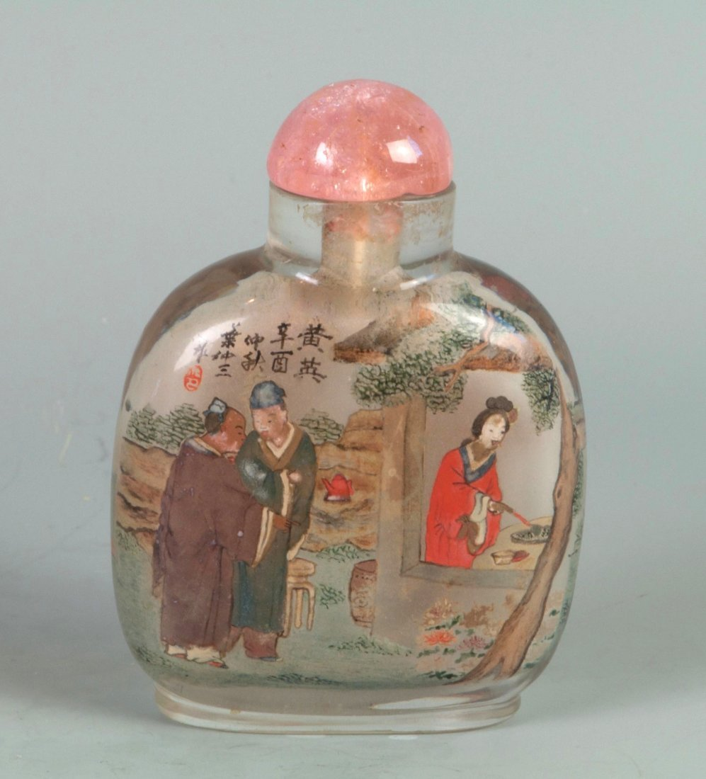 Chinese Cystal Reversed Painting Snuff Bottle
