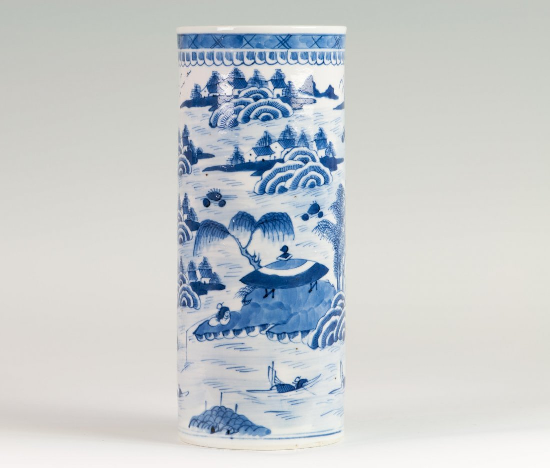 Chinese Blue-White Hat Holder in Willow Trees
