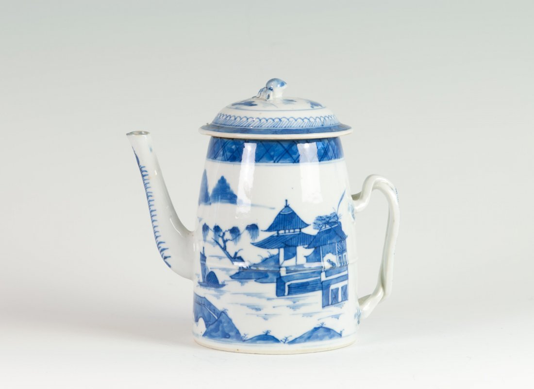 Chinese Blue-white Teapot in Willow Tress