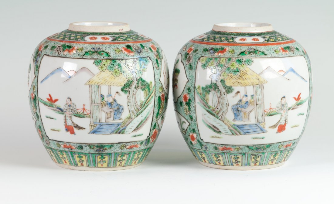 Chinese Pair of Famille Verte Pots in Mandarins