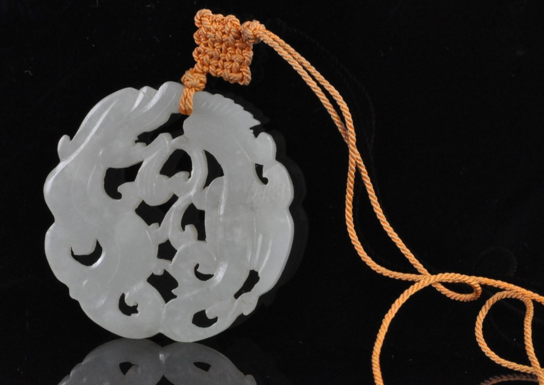 Chinese White Jade Pendant with Coral String