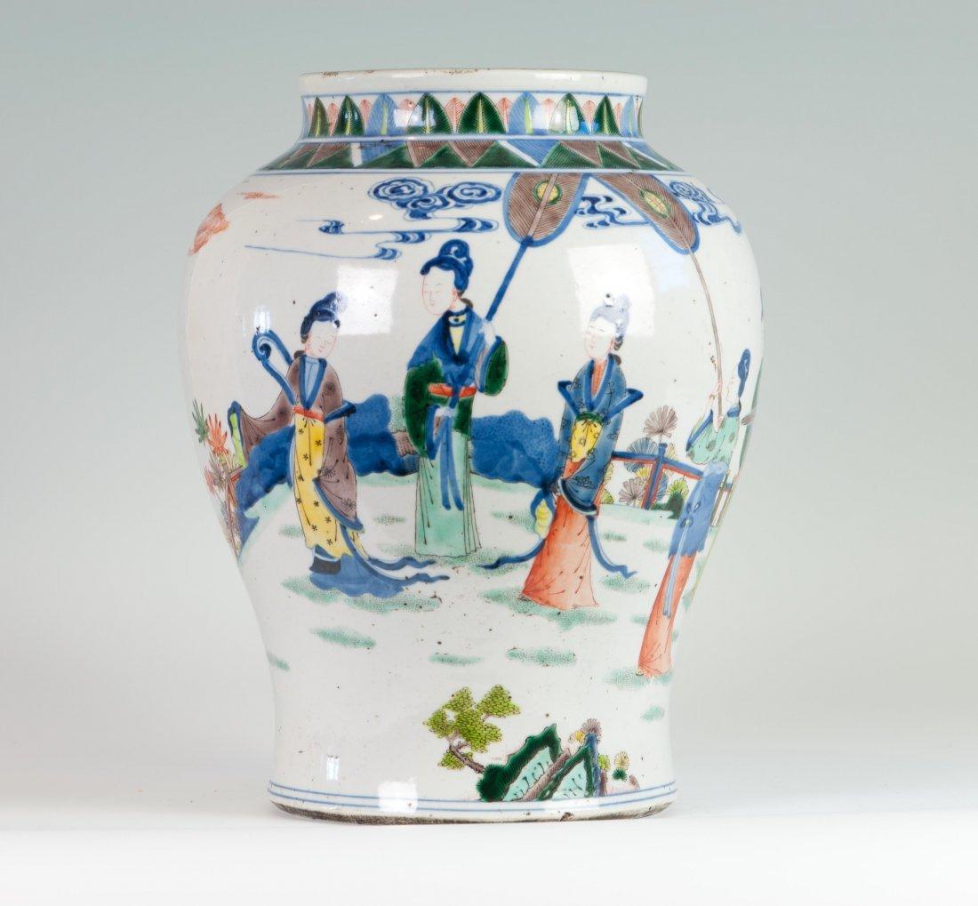 Chinese Famille Verte Jar in Court Ladies