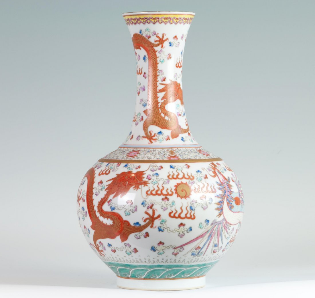 Chinese Famille Rose Vase in Coral Dragons