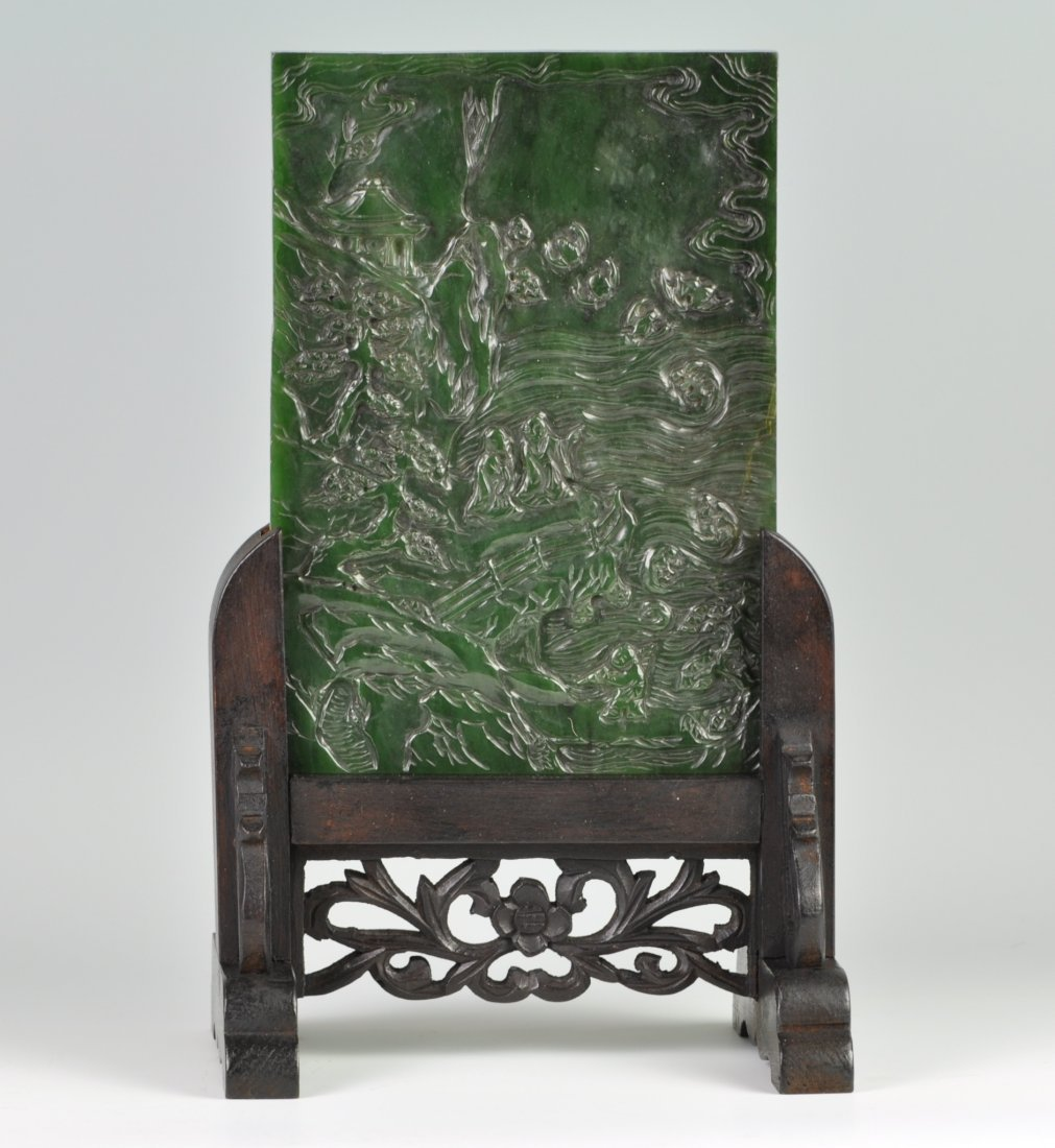 Chinese Spinach Jade Table Screen