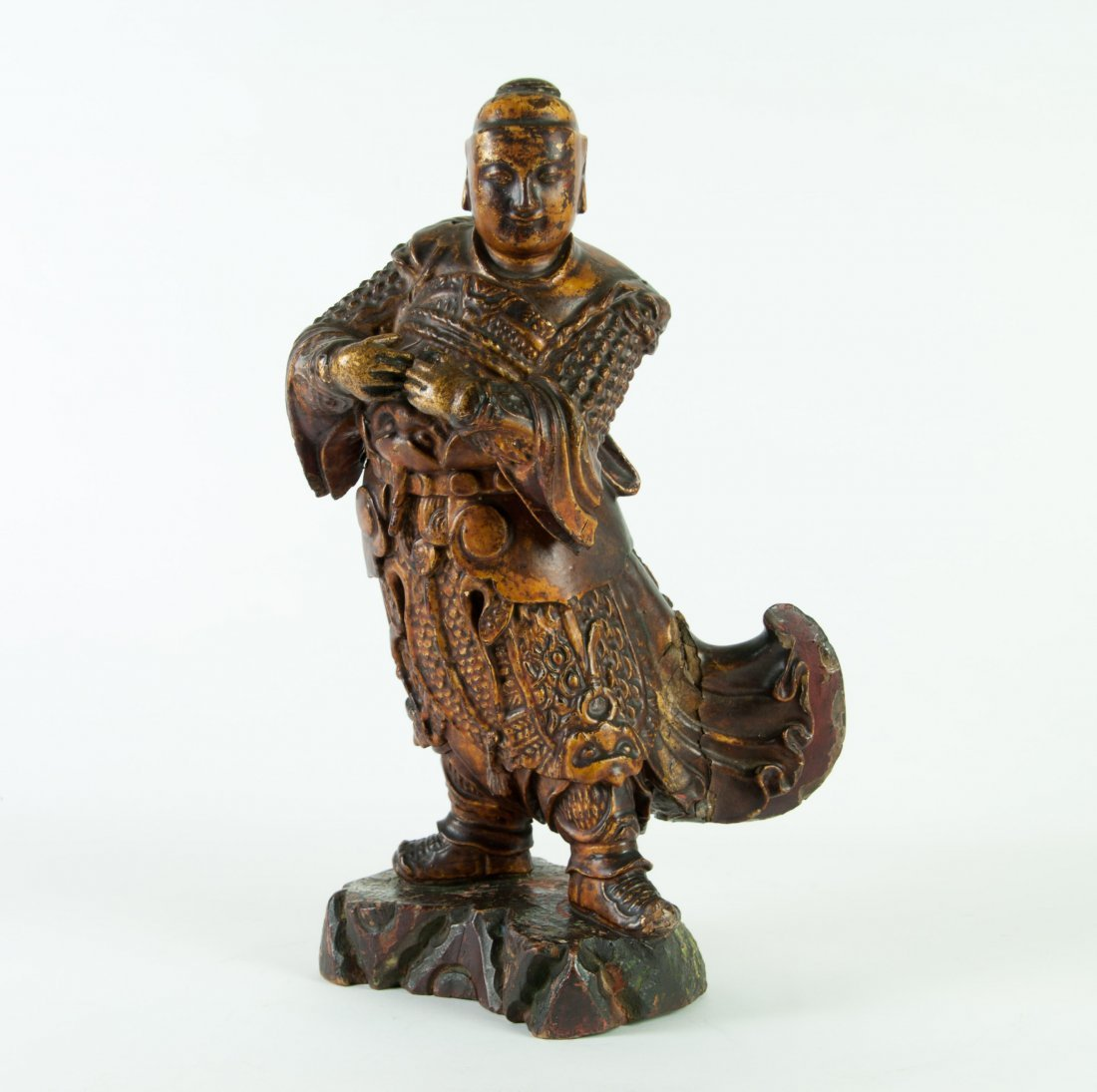 Chinese Gilt Wood Warrior