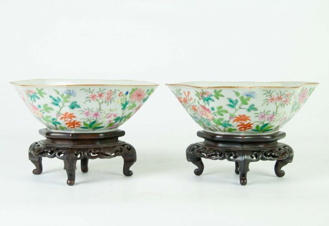 Chinese Pair of Famille Rose Irregular Shaped Bowls