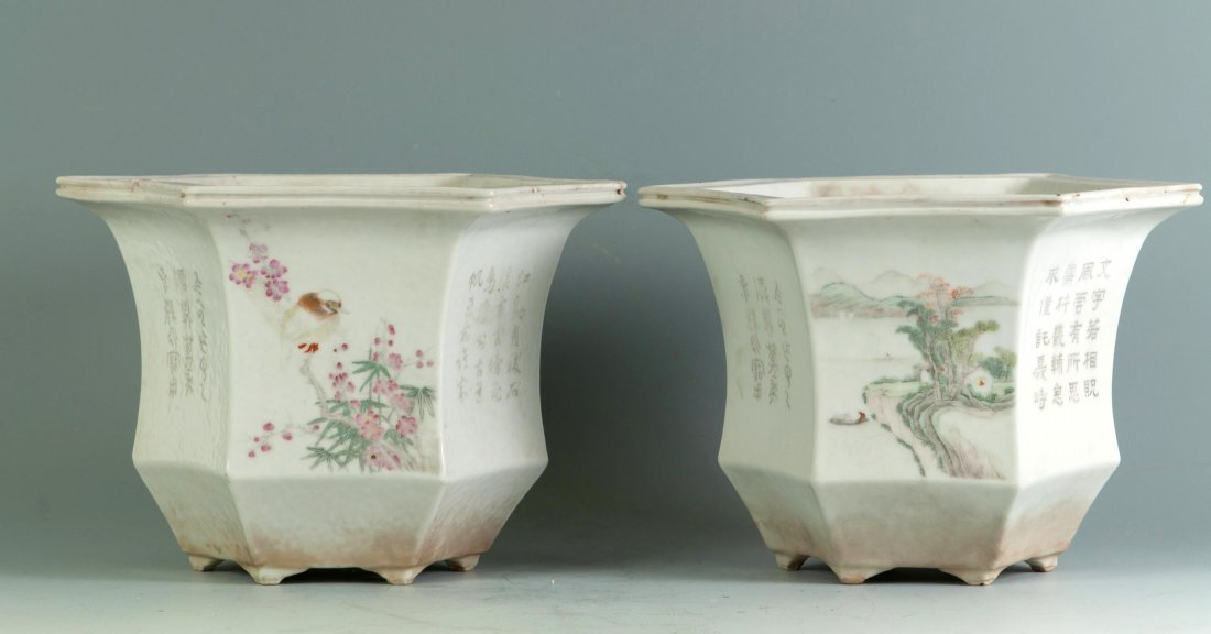 Chinese Pair of Famille Noire Planters