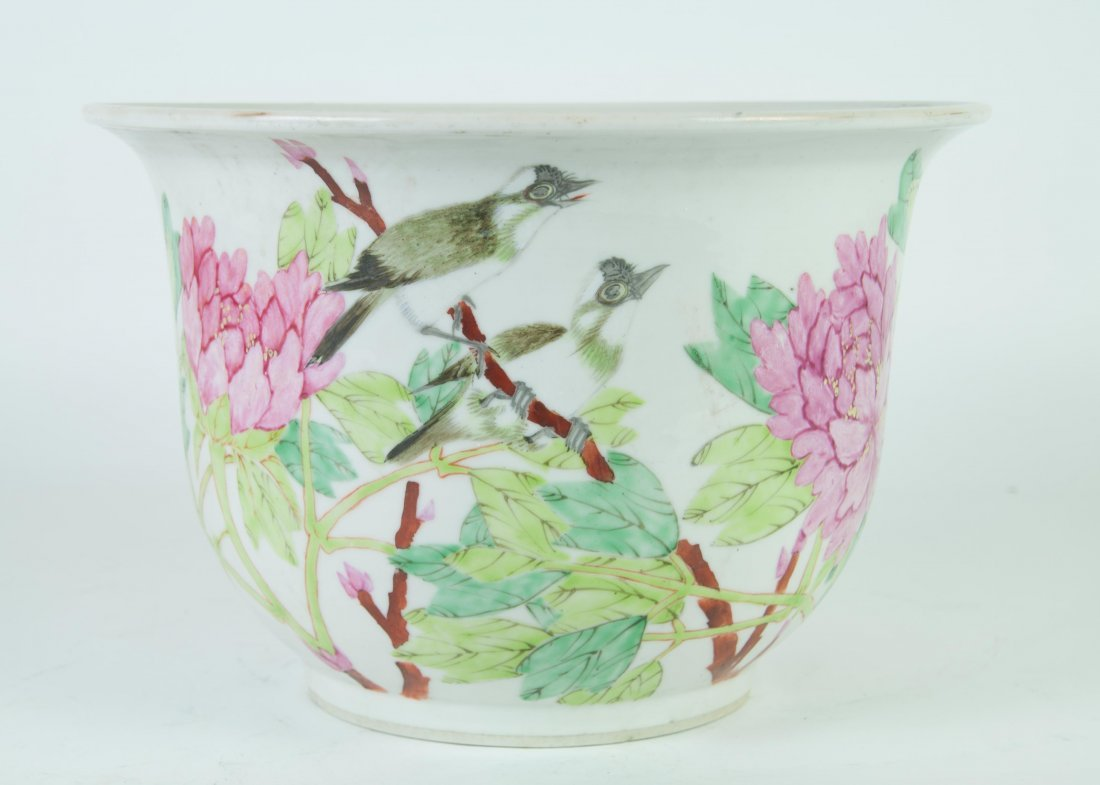 Chinese Famille Noire Planter in Birds and Poenies